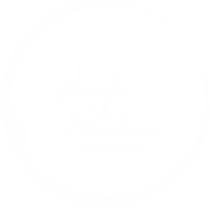 The High Stakes Foundation stakes logo white